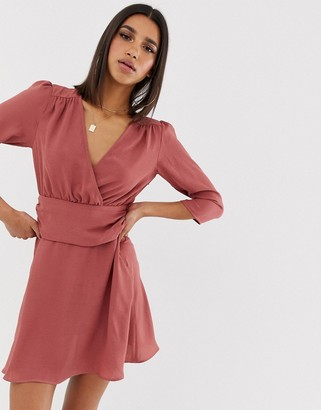 Asos Design DESIGN wrap mini dress with ruched waist-Pink