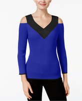 Cable & Gauge Cold-Shoulder Ribbed Colorblocked Sweater
