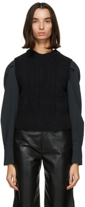 Low Classic Black Alpaca and Wool Cable Vest