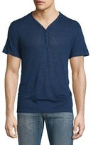 John Varvatos Short-Sleeve Linen-Blend Henley T-Shirt, Regal Blue