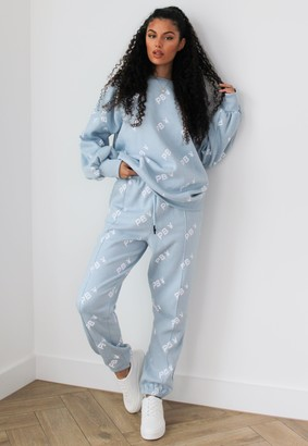Missguided Playboy X Blue Repeat Print Joggers