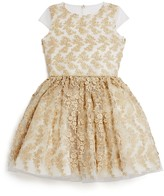 David Charles Girls' Gold Mesh Dress - Sizes 7-16