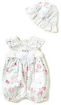 Little Me Little Baby Girls 3-9 Months Floral-Printed Romper & Sun Hat Set