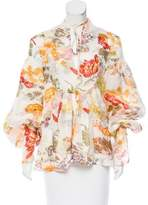 Rosie Assoulin 2017 Silk Floral Print Top