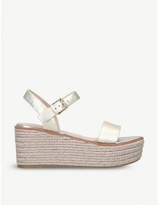 Aldo Erani metallic-leather wedge sandals