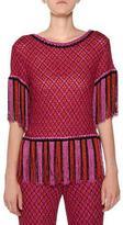 Missoni Short-Sleeve Fringe-Hem Multicolor Knit Top