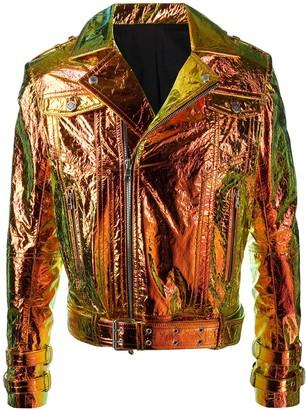 Balmain Hologram Effect Leather Jacket