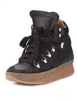 Isabel Marant Brent Lace-Up Demi-Wedge Sneaker, Black