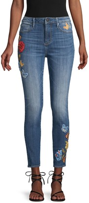 Driftwood Jackie High-Rise Embroidered Skinny Jeans