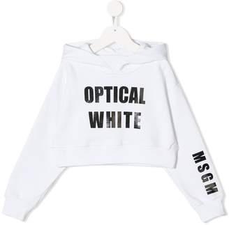 MSGM Kids Optical White hoodie