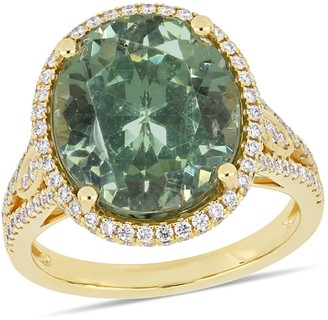 Miadora 14k Yellow Gold Apatite & 4/5ct TDW Diamond Halo Cocktail Ring