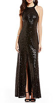 B. Darlin Sequin High-Neck Strappy Back Front Slit Long Dress