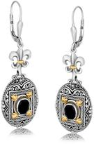 Ice 18K Yellow Gold and Sterling Silver Earrings with Framed Black Onyx Accents