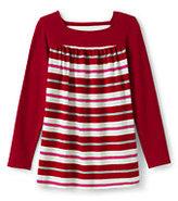 Classic Girls Plus Pattern Front Yoke Legging Top-Candy Cane Stripe