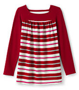 Classic Little Girls Pattern Front Yoke Legging Top-Candy Cane Stripe