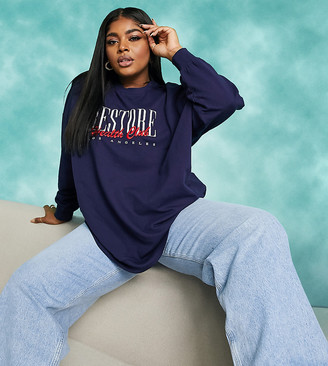 ASOS DESIGN Curve oversized sweatshirt with varsity restore logo