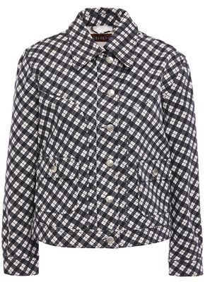 ALEXACHUNG Checked Cotton-blend Gabardine Jacket