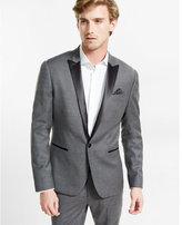Express skinny innovator heathered wool blend tuxedo blazer