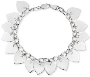 Giani Bernini Polished Heart Charm Bracelet in Sterling Silver, Created for Macy's