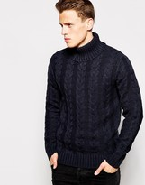 French Connection Cable Knit Roll Neck Jumper - Navy