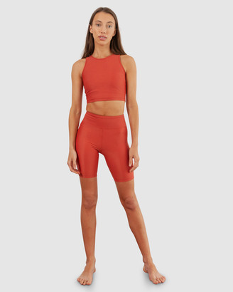 BAYTHE - Women's Red Tights - Movement High Waist Bike Short - Size One Size, XS at The Iconic
