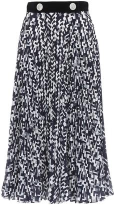 Prada Geometric Print Pleated Silk Skirt