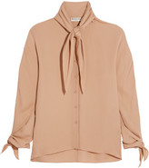 Balenciaga Pussy-bow Silk-georgette Blouse - Neutral