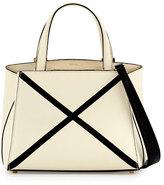 Valextra Triennale Mini Tote Bag w/Contrast Trim, White