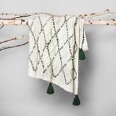 Hearth & Hand with Magnolia Woven Tassel Throw Blanket - Cream/Green