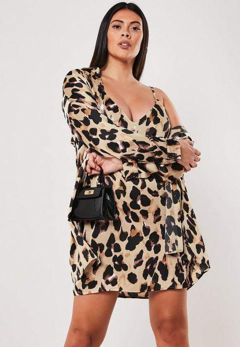 Plus Size Brown Leopard Print Shirt Dress