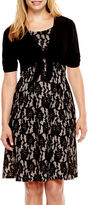 JCPenney Perceptions Short-Sleeve Lace Jacket Dress - Petite