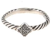 David Yurman Quatrefoil Sterling Silver with Diamonds Ring Size 6.5