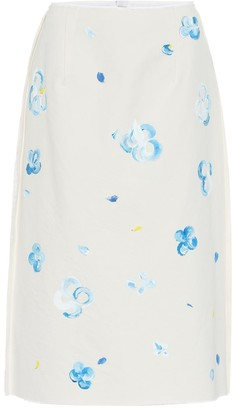 Marni Floral cotton blend midi skirt