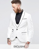 Noose & Monkey Super Skinny Suit Jacket With Contrast Piping And Stretch