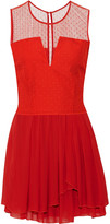 Maje Elphege polka-dot tulle paneled silk-chiffon dress