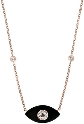 Effy 14K Rose Gold, Onyx, Black White Diamond Evil Eye Pendant Necklace