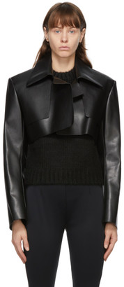 we11done Black Faux-Leather Cropped Jacket