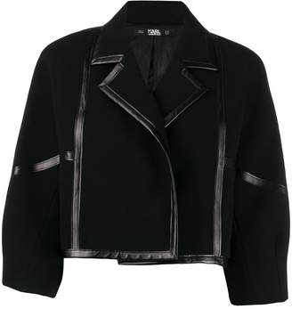 Karl Lagerfeld Paris Faux Leather-Trimmed Jacket