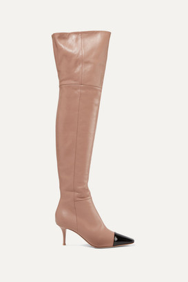 Gianvito Rossi 70 Two-tone Leather Over-the-knee Boots - Taupe