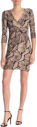 Blvd Surplice Neck Brushed Knit Snake Print Dress