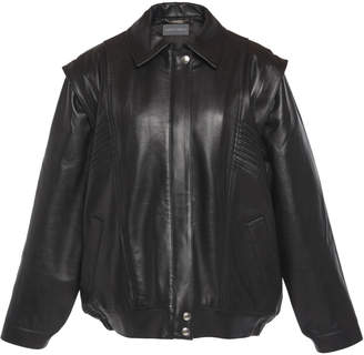 Alberta Ferretti Detachable Sleeve Nappa Leather Jacket