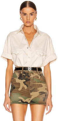 R 13 Oversized Cowboy Short Sleeve Shirt in White | FWRD