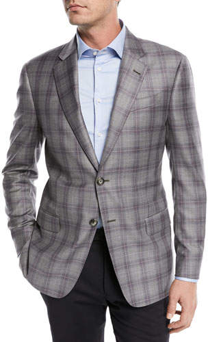 Emporio Armani Two-Button Windowpane Blazer, Gray