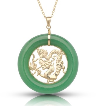 Curata 14k Yellow Gold 16-inch Large Dyed Green Jade Dragon Circle Pendant Necklace