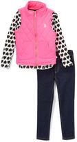 U.S. Polo Assn. Pink Heart Long-Sleeve Tee, Puffer Vest & Jeans - Toddler & Girls