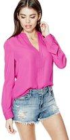 GUESS Jenalyn Long-Sleeve Draped-Back Top