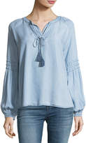 Brandon Thomas Chambray Peasant Top