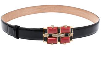 Roberto Cavalli Black Patent Leather Crystal Embellished Buckle Belt 95CM