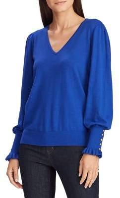 Lauren Ralph Lauren Buttoned-Cuff Long-Sleeve Sweater