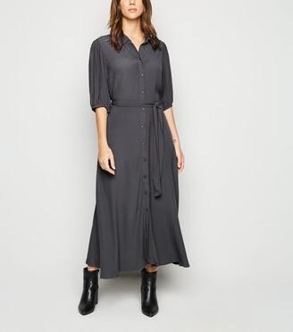 New Look Puff Sleeve Belted Midi Shirt Dress